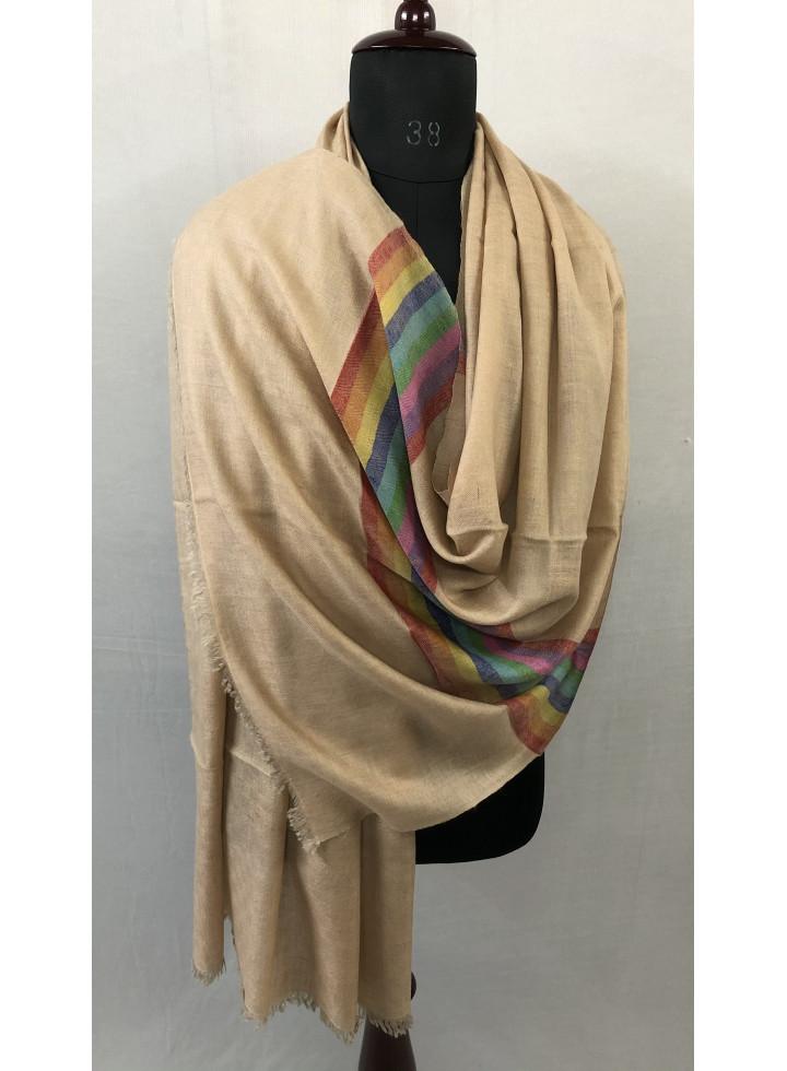 Extraordinary Rainbow Palla Box Weave Pattern Handmade Real Cashmere Pashmina Stole