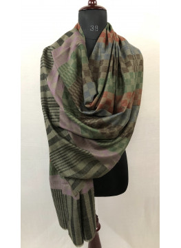 Handwoven Giant Reversible Checkerboard Pattern Pure Cashmere Pashmina Stole