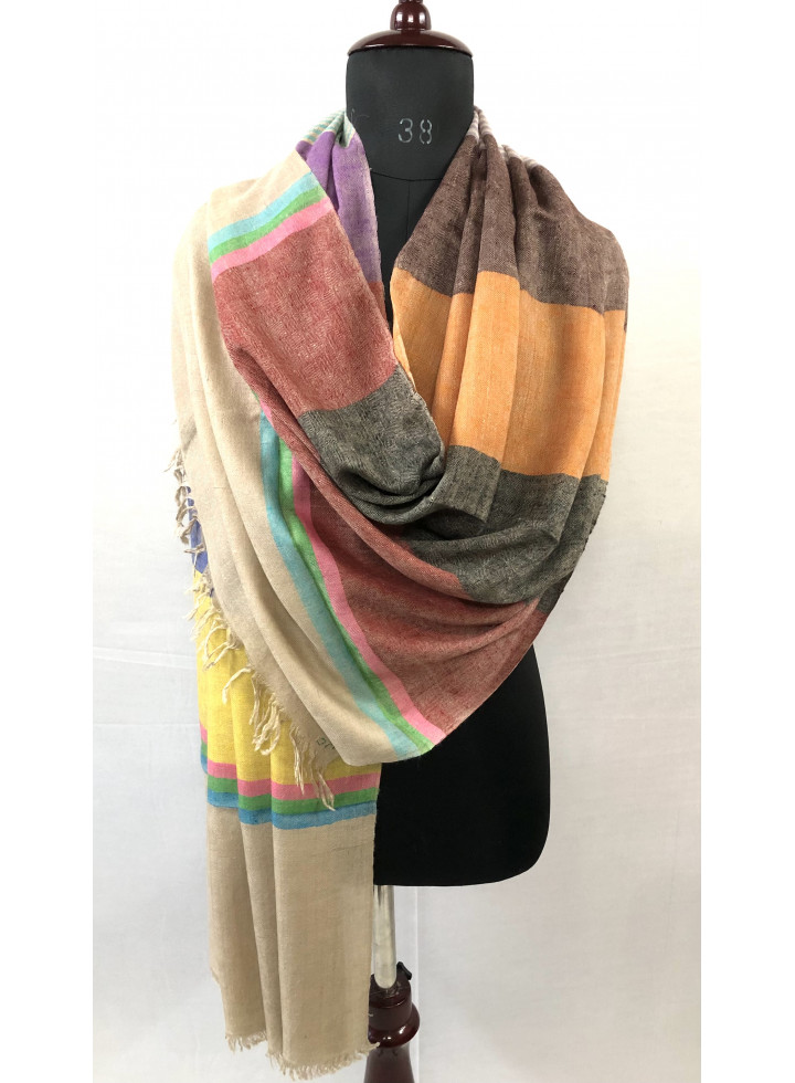 Broad Multicolored Stripes Handwoven Real Cashmere Pashmina Stole