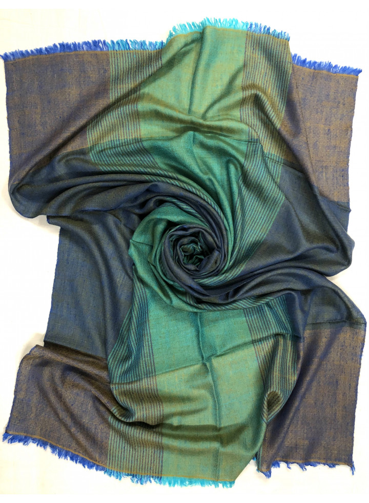 Glided Green-Blue Slate Barcode Stripes Handwoven Real Cashmere Pashmina Stole