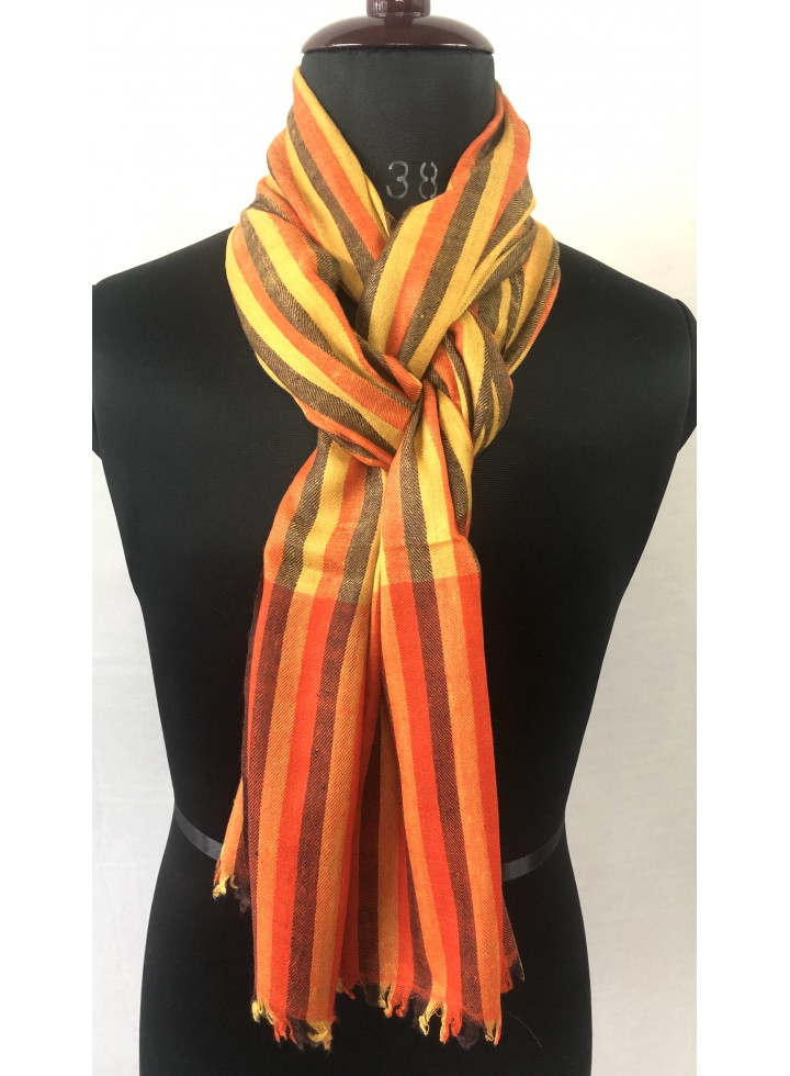 Gold Fusion Bengal Stripes Handwoven Real Cashmere Pashmina Stole
