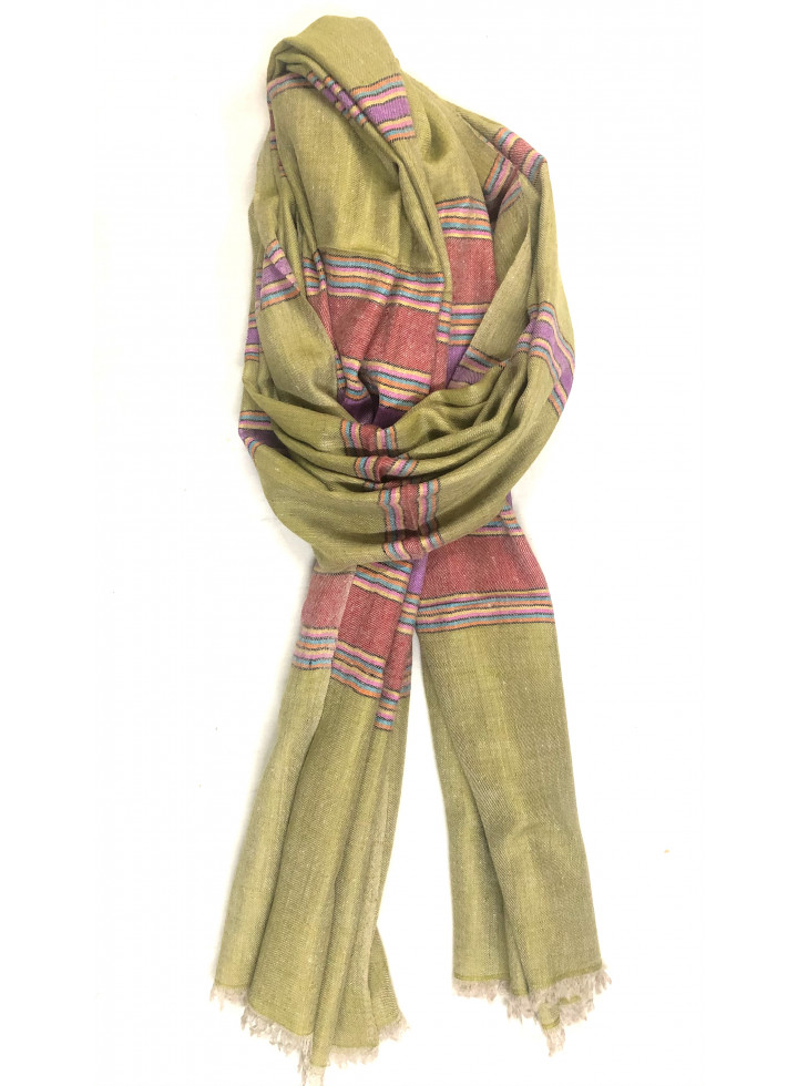 Oasis Cabana Stripes Handmade Real Cashmere Pashmina Stole