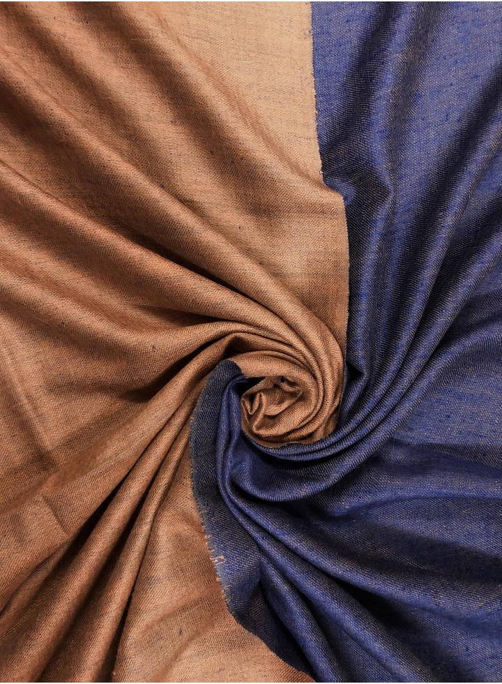 Galaxy Blue And Glazed Ginger Reversible Cashmere Pashmina Shawl