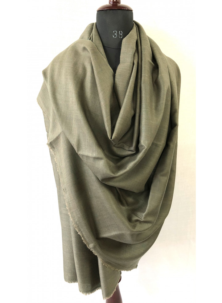 Antique Green And Walnut Reversible Real Cashmere Pashmina Shawl