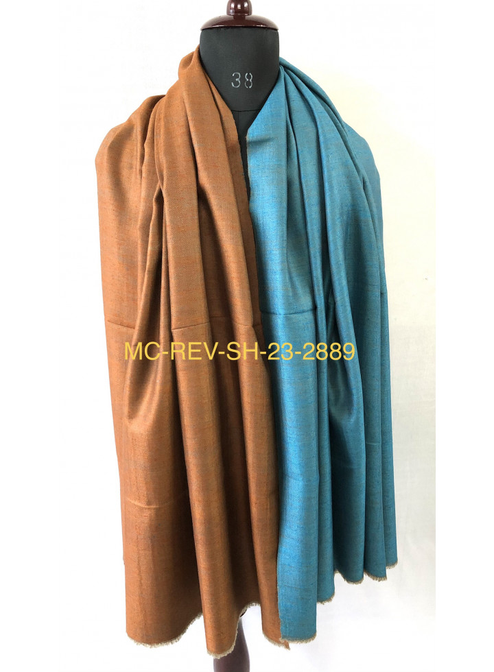 Blue Moon And Gold Flame Reversible Real Cashmere Pashmina Shawl