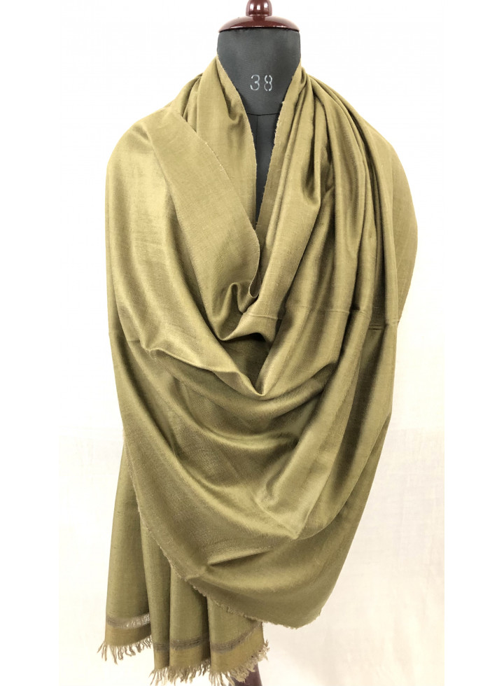 Fir Green And Timber Wolf Reversible Real Cashmere Pashmina Shawl