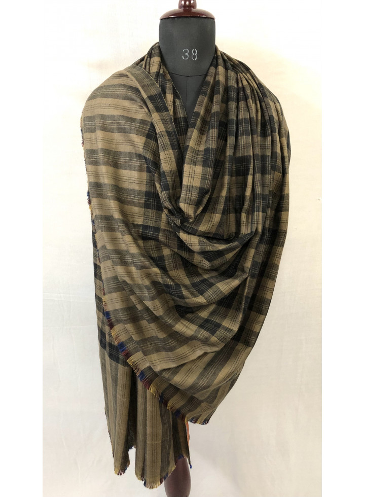 Tartan Plaid And Candy Stripes Pattern Two Layered Reversible Cashmere Pashmina Shawl
