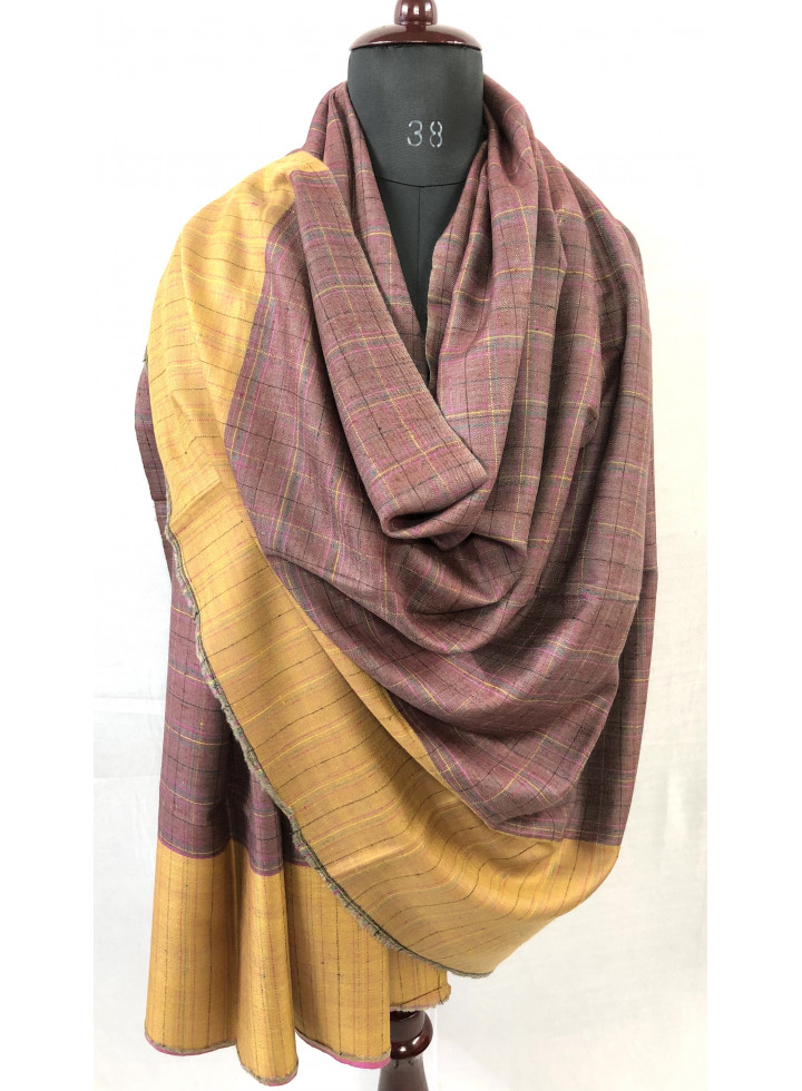 Dupplin Check And Blue Moon Reversible Real Cashmere Pashmina Shawl