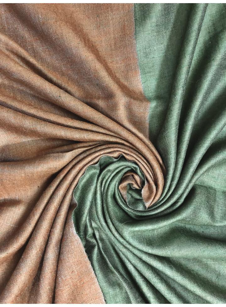 Hazel And Garden Green Reversible Real Cashmere Pashmina Shawl