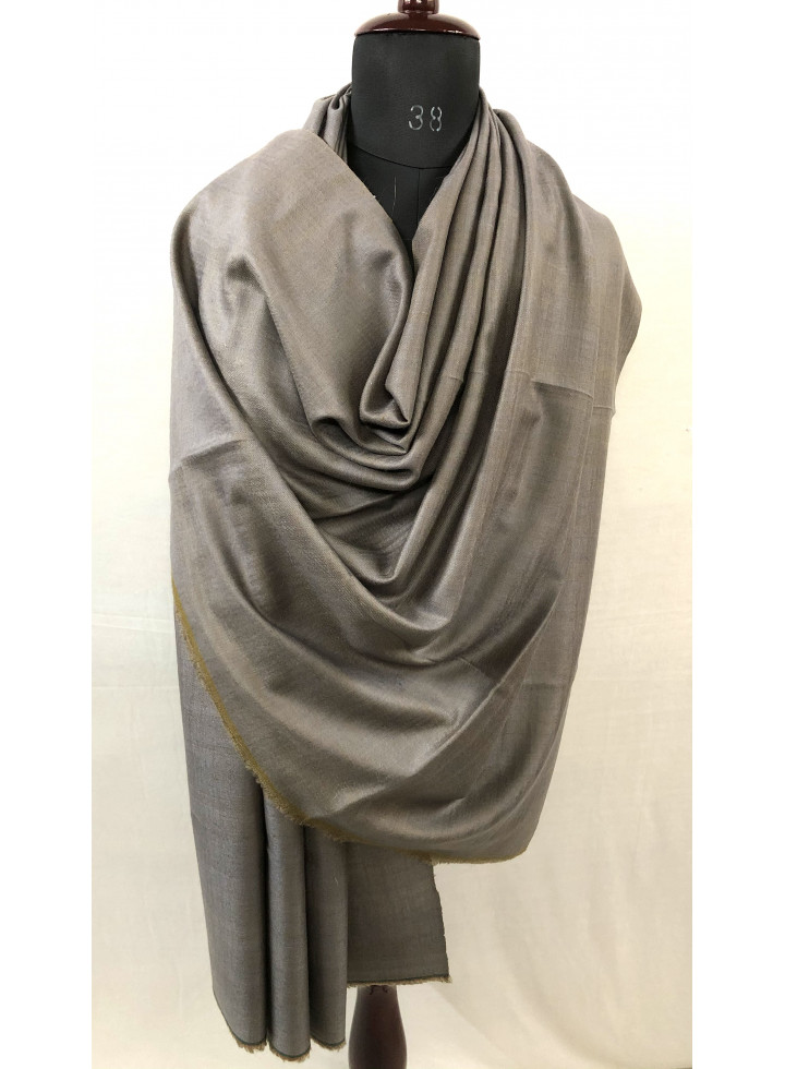 Fennel Seed And Steeple Gray Reversible Handmade Real Cashmere Pashmina Shawl