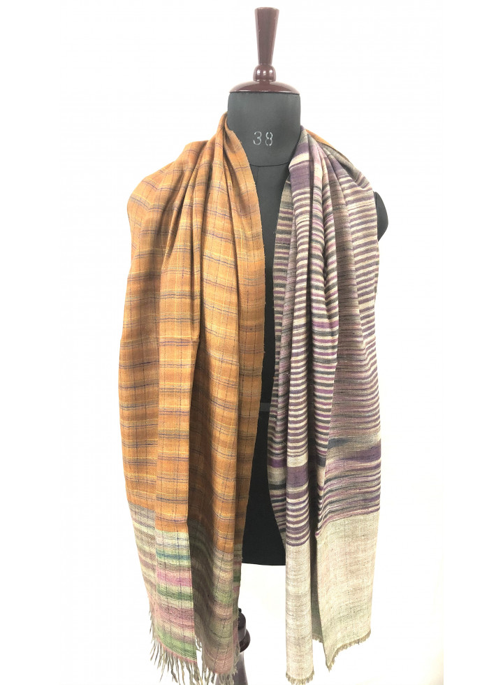 Warm Apricot And Dry Rose Reversible Cashmere Pashmina Stole