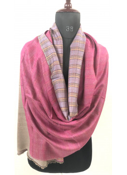 Shrinking Violet And Pink Carnation Double Faced Cashmere Pashmina Stole