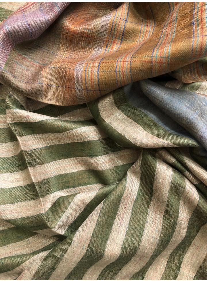 Olivine Stripes And Toasted Coconut Tartan Reversible Cashmere Pashmina Stole