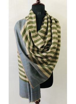 Olivine Stripes And Toasted Coconut Tartan Reversible Cashmere Pashmina Stole