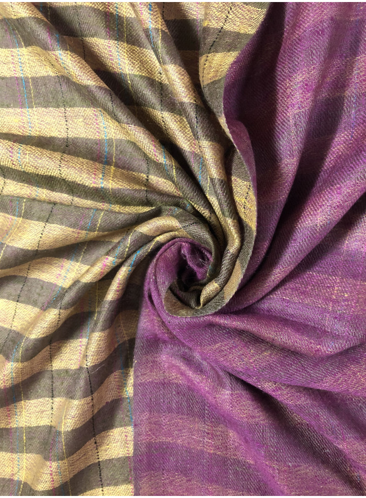 Plantation Brown Stripes And Red Violet Reversible Real Cashmere Pashmina Stole