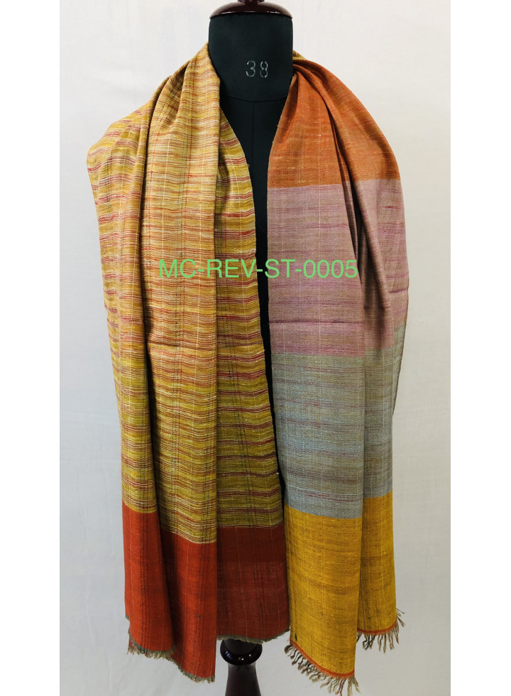 Awning Stripes And Cross Hatched Pattern Reversible Real Cashmere Pashmina Stole