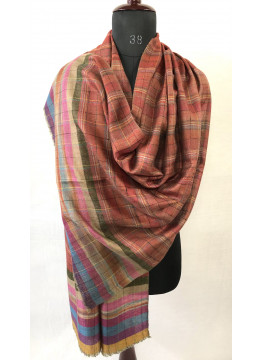 Handmade Royal Stewart And Bayadere Stripes Reversible Authentic Cashmere Pashmina Stole