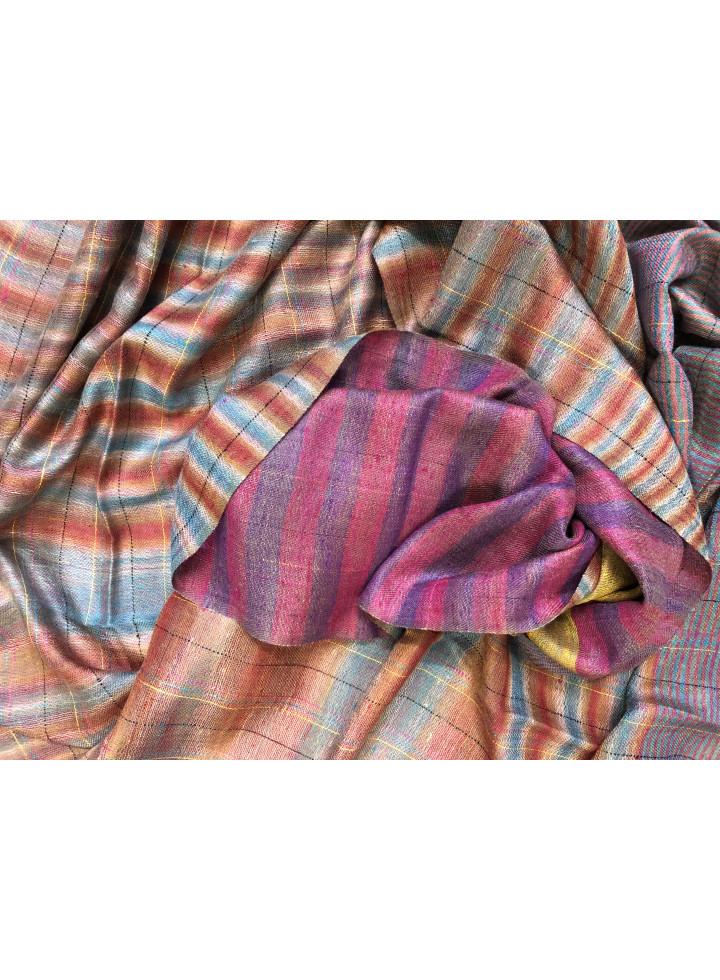 Ikkat Check And Breton Stripes Reversible Real Cashmere Pashmina Stole