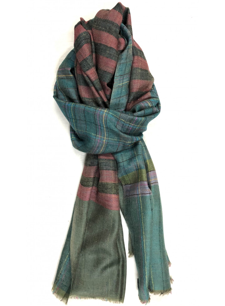 Unisex Shaded Spruce Check With Brick Red Stripes Reversible Handmade Real Cashmere Pashmina Stole