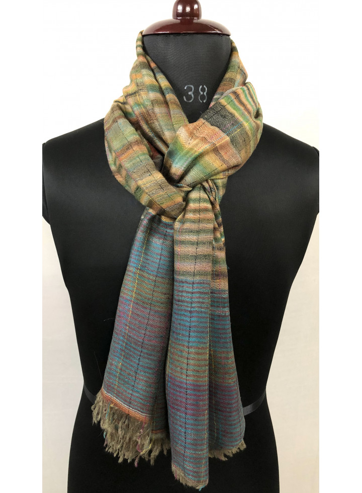 Grasshopper Magic Weave With Baked Apple Stripes Reversible Handmade Real Cashmere Pashmina Stole