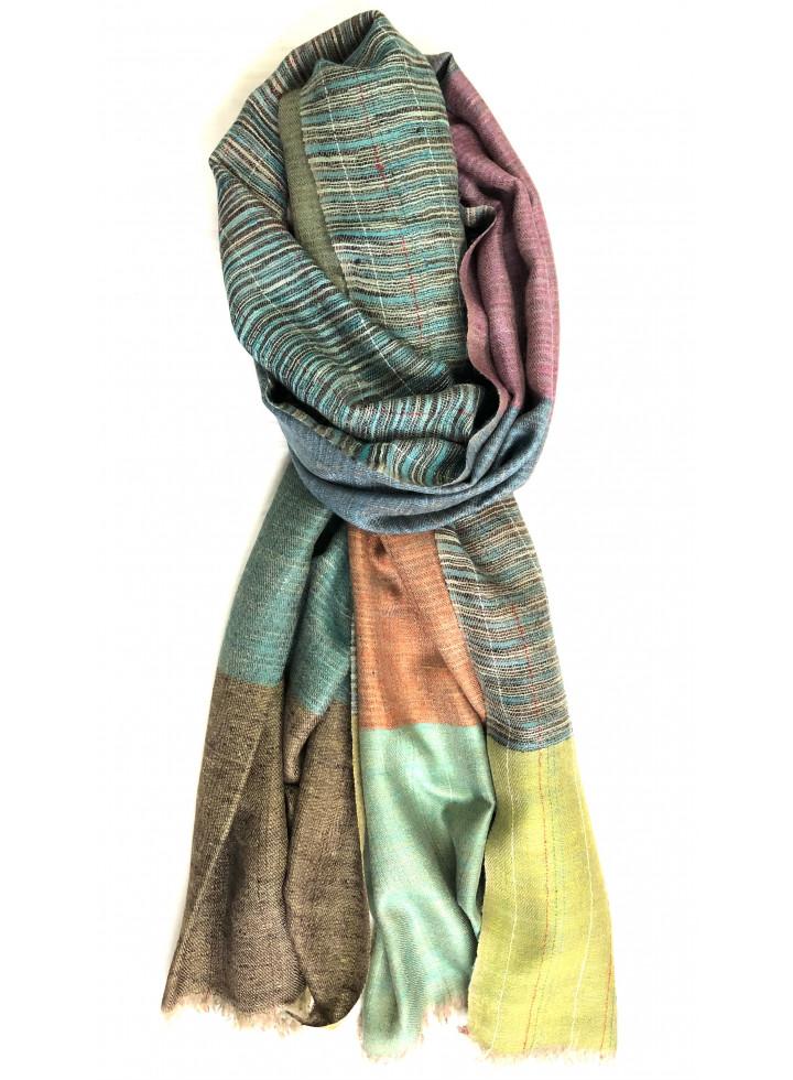 Kashmir Magic Weave With Nona Stripes Reversible Handmade Real Cashmere Pashmina Stole