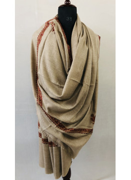 Natural Undyed Hashidar Border Sozni Embroidery Pure Cashmere Pashmina Large Shawl