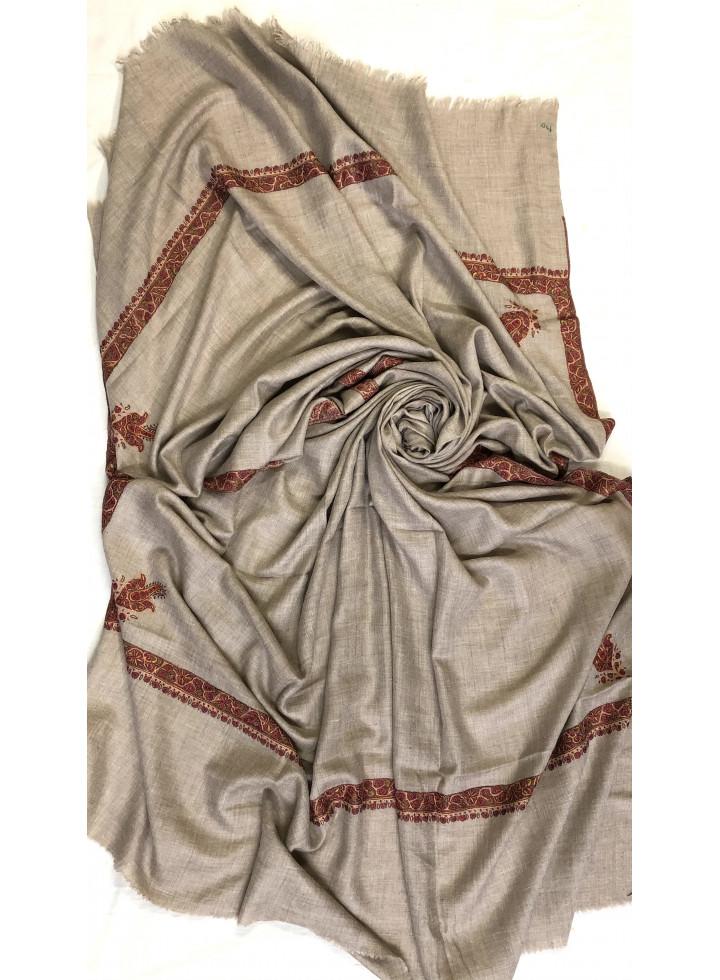 Natural Undyed Hashidar Border Sozni Embroidery Pure Cashmere Pashmina Large Shawl