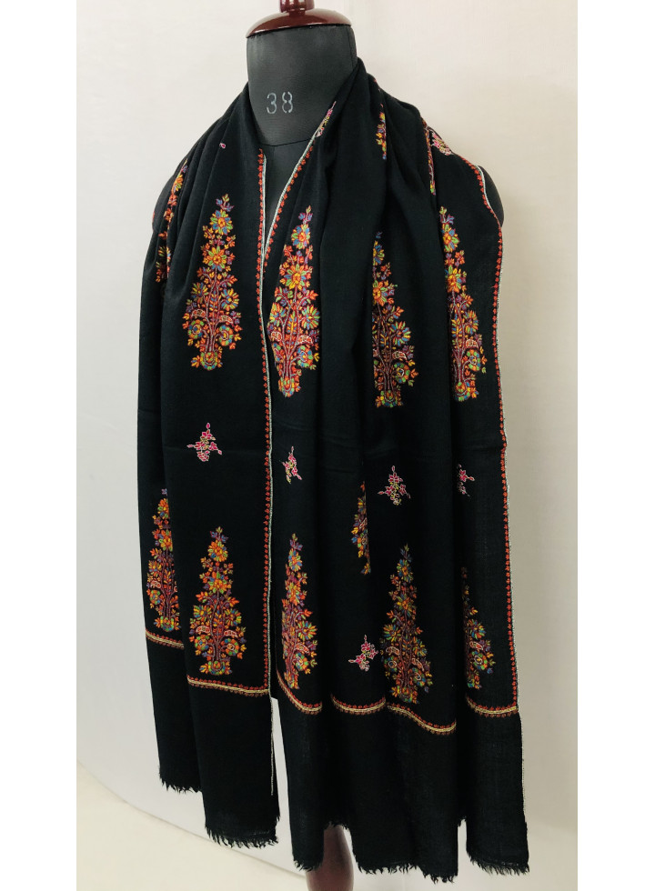 Kani Kar Pines Floral Booties Do Rukha Hand Embroidered Cashmere Pashmina Shawl