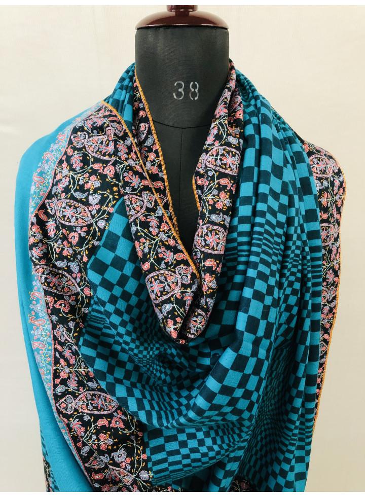 Horizon Blue N Black Sozni Embroidery Dourdar Handwoven Cashmere Pashmina Shawl