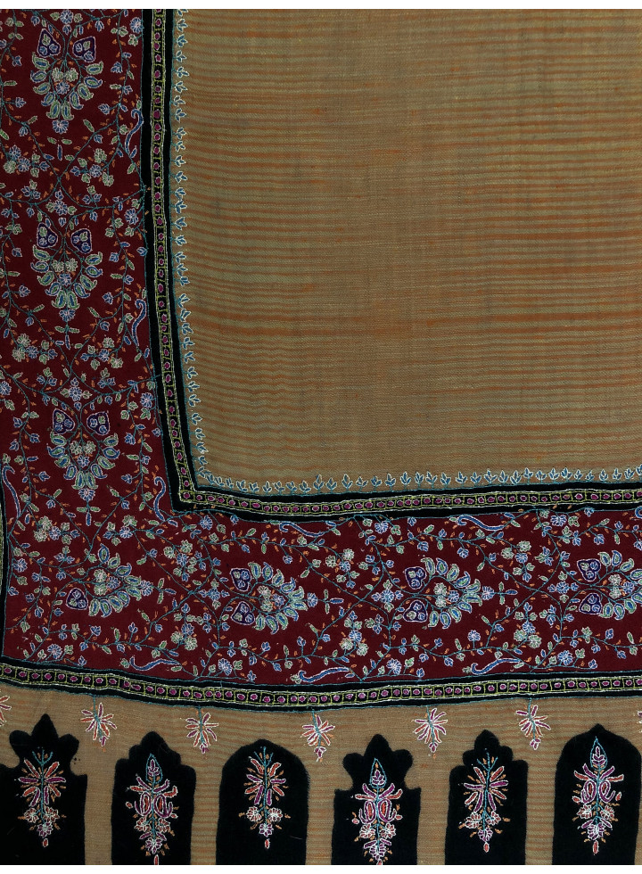 Pumpkin Spice Salsa Magical Weave Big Border Micro Fine Hand Embroidery Real Cashmere Pashmina Shawl