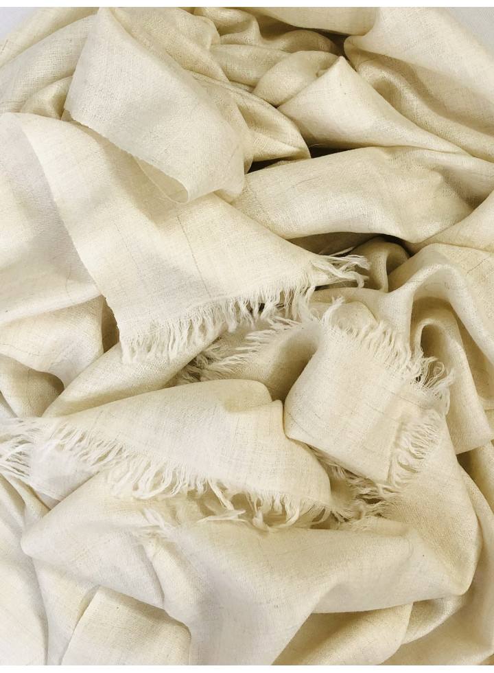 Off White Hand Woven Real Cashmere Pashmina Stole