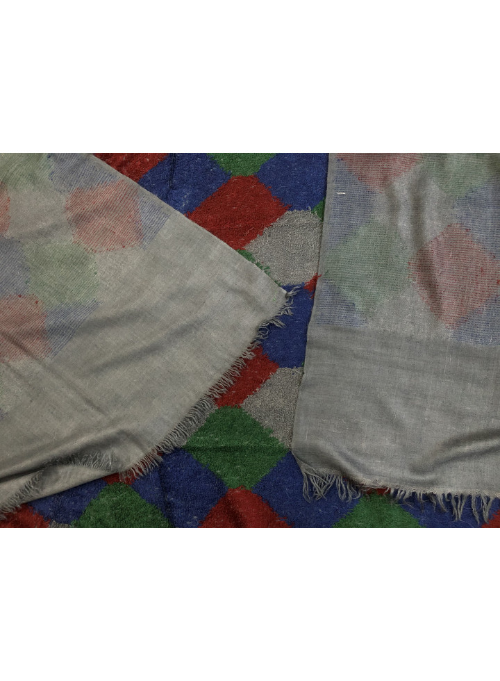 Blue-Grey Towel Weave Harlequin Check Handwoven Real Cashmere Pashmina Wrap