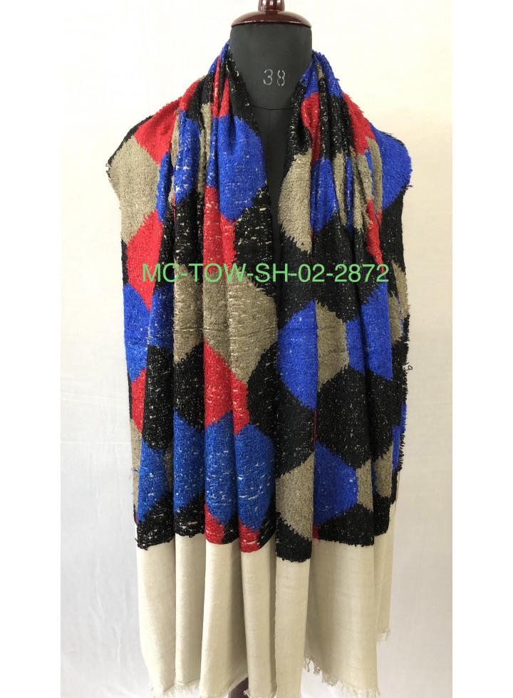 Simple Hexagon Geometric Design Towel Weave Handwoven Real Cashmere Pashmina Wrap