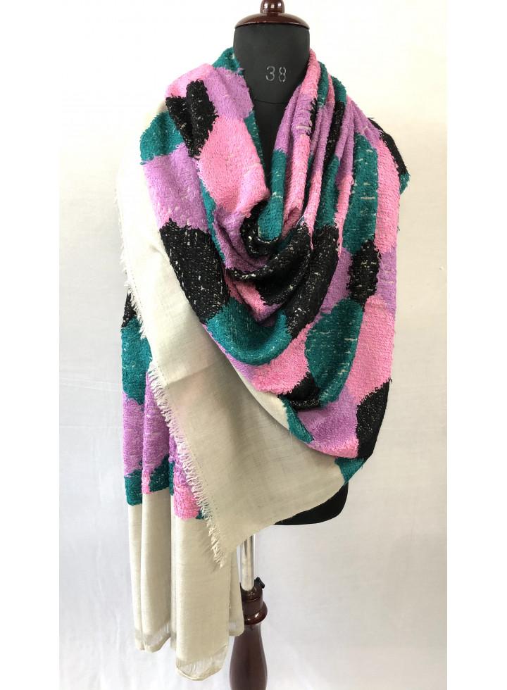 Seamless Hexagon Pattern Handwoven Towel Weave Real Cashmere Pashmina Wrap