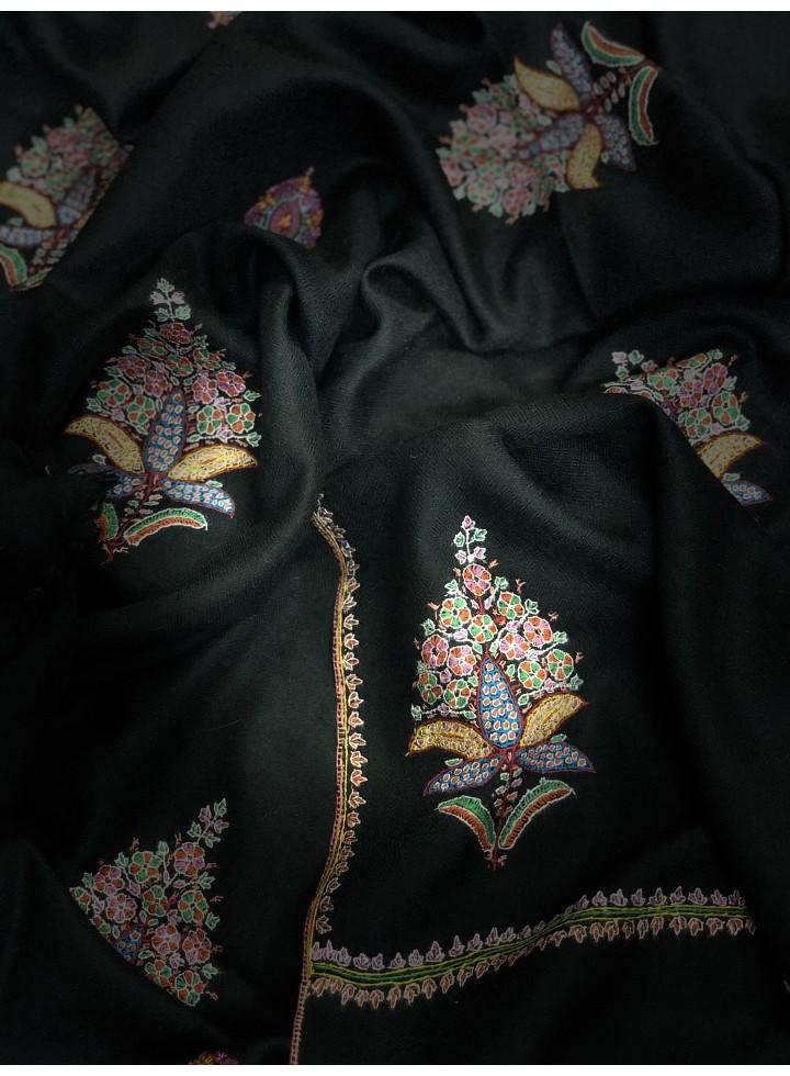 Black Mughal Garden Bootidar Pashmina Shawl