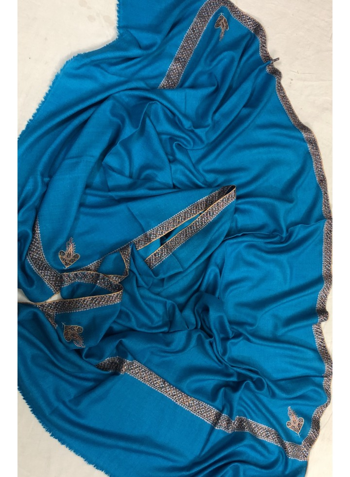 Blue Jewel Border Embroidery Pashmina Shawl