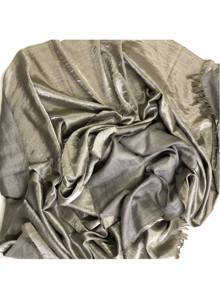 Shimmery Charcoal Gray Silver Metallic Cashmere Pashmina Shawl
