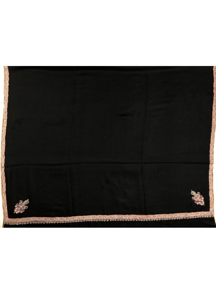 Jet Black Border Embroidery Pashmina Shawl