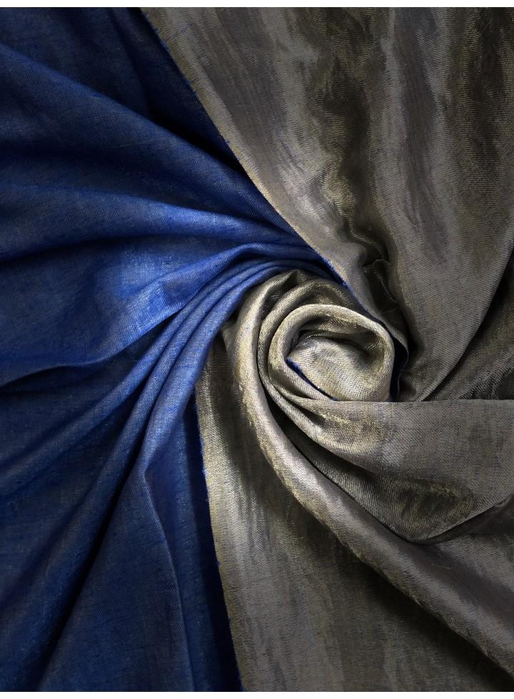 Shimmery Princess Blue Silver Metallic Pashmina Shawl