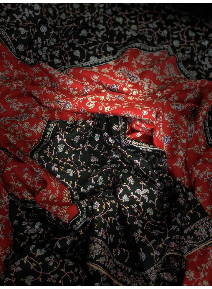Black N Red Jaal Pashmina Shawl