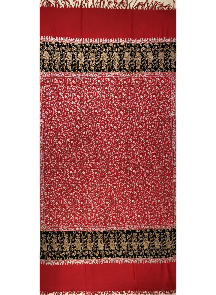 Do-Rukha Gold N Silver Embroidered Pashmina Shawl