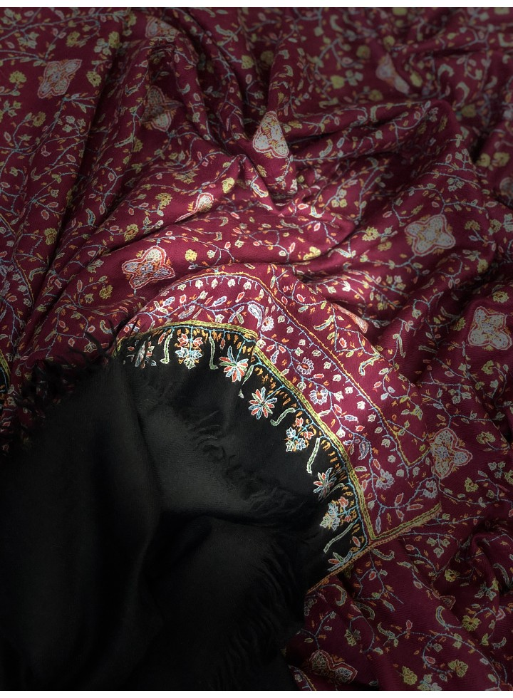 Black And Persian Red Neem Jama Pashmina Shawl