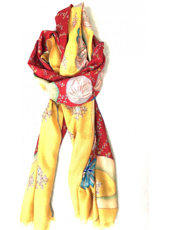 Artisan's Gold Tango Red Kalamkari Pashmina Stole