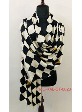 Black And White Checkerboard Pattern Hand Painted Cashmere Pashmina Stole