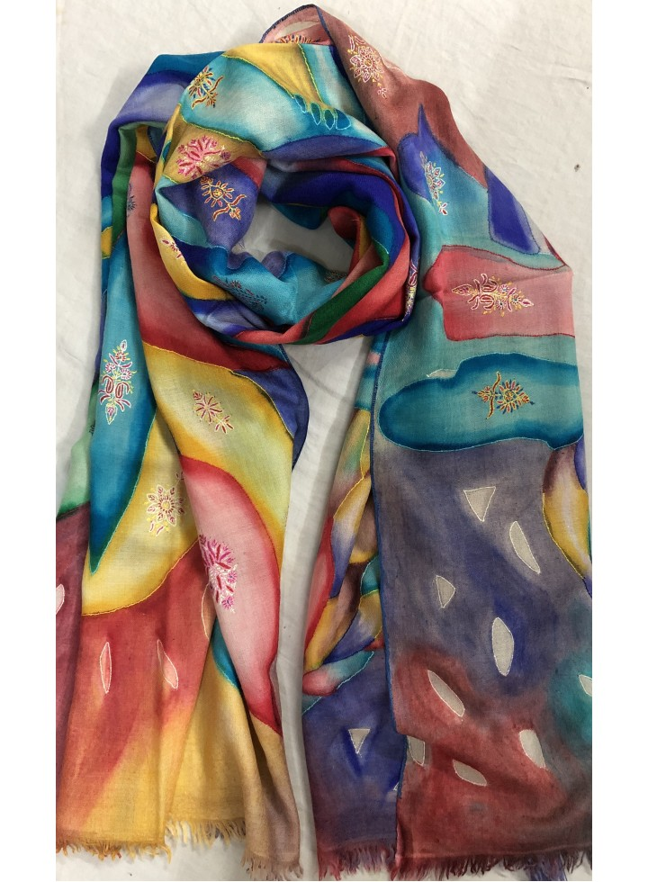 Colourful May Queen Kalamkari Pashmina Stole