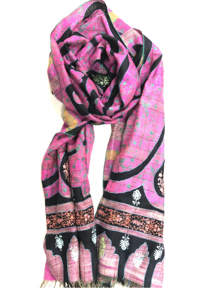 Traditional Paisley Print Embroidered Reversible Cashmere Pashmina Stole