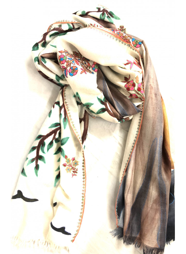 Tree Of Hope Kalamkari Cashmere Pashmina Stole