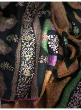 Pivot Paisley Print Embroidered Reversible Cashmere Pashmina Stole