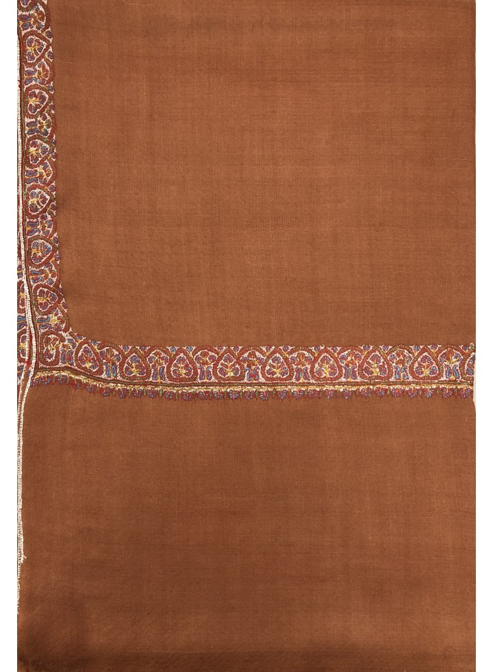 Pashmina Amber Brown Border Embroidery Stole