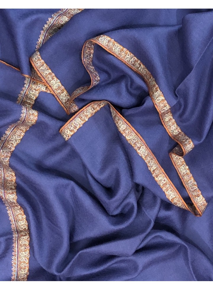 Pashmina Blue Ice Border Embroidery Stole